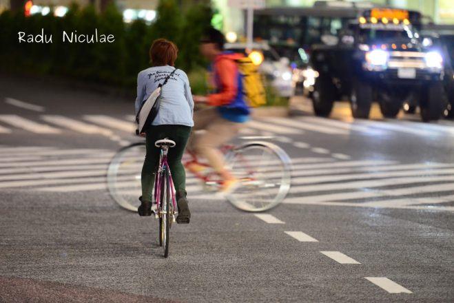Biciclete in Tokyo Peisaj de Noapte in Shibuya